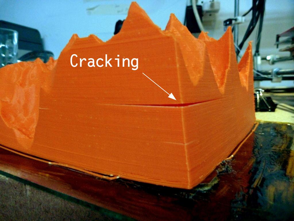 A crack in a 3D print