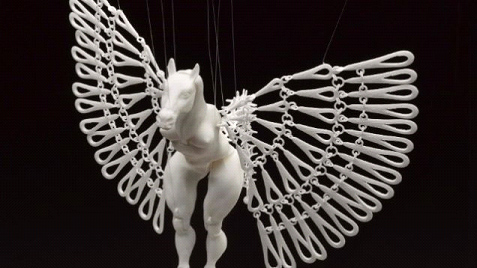 3D Printed White Horse Marionette
